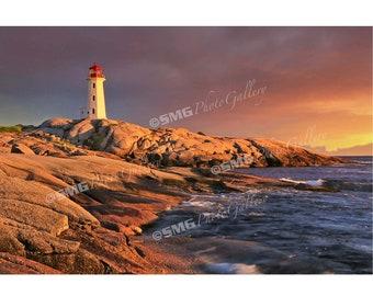 Peggy's Cove Photo, Nova Scotia Print, Canada, Lighthouse, Canadian Coast, Sunset, Wall Art, Travel Photos, Fine Art Photography