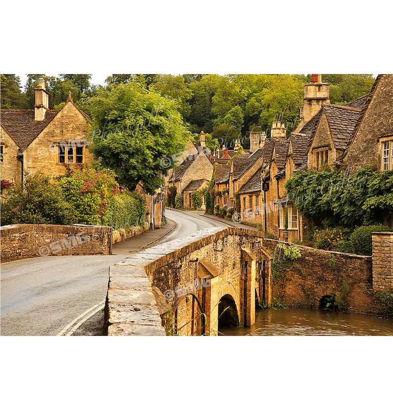 Cotswolds England Street Scene Quaint Village Home Decor image 0