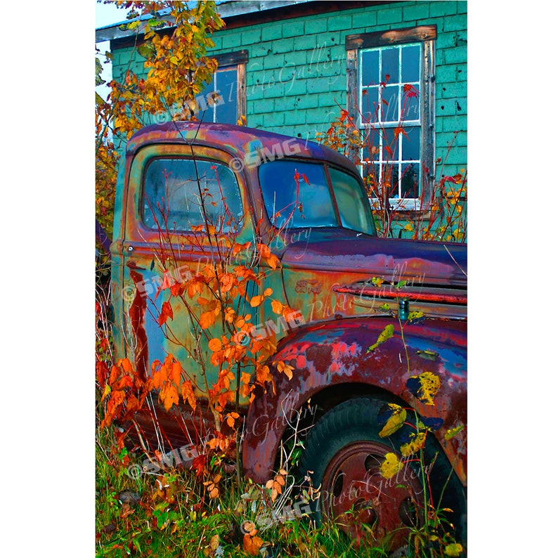 Old Ford Truck Vermont Autumn Antique Rusting Home Decor image 0