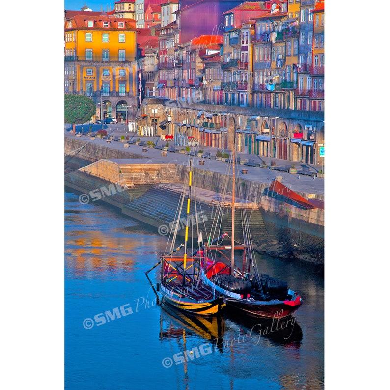 Porto Portugal Ribeira River Boats Home Decor Wall Art image 0
