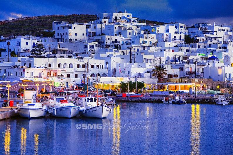 Greece Greek Islands Paros Harbor Aegean Dusk Home image 0