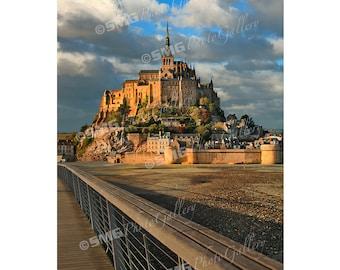 France, Mont Saint Michel, Normandy, Morning Sun, Home Decor, Wall Art, Travel Photos, Fine Art, Photography, Canvas, Metal, Matted Prints