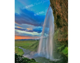 Iceland, landscape, waterfalls, sunset, colorful, Home Decor, Wall Art, Travel Photos, Fine Art, Photography, Canvas, Metal, Matted Prints