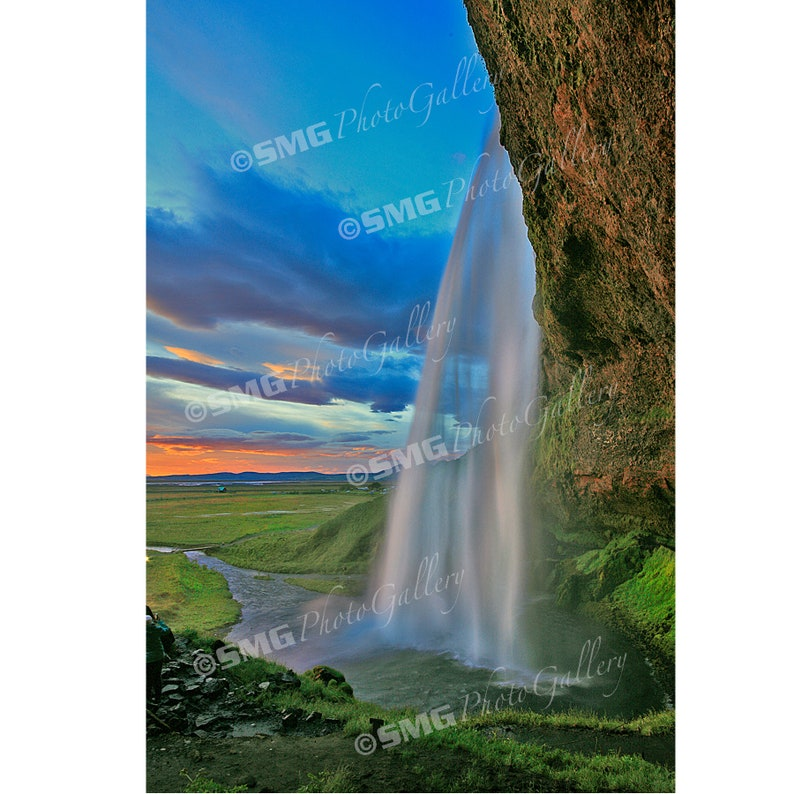 Iceland landscape waterfalls sunset colorful Home Decor image 0