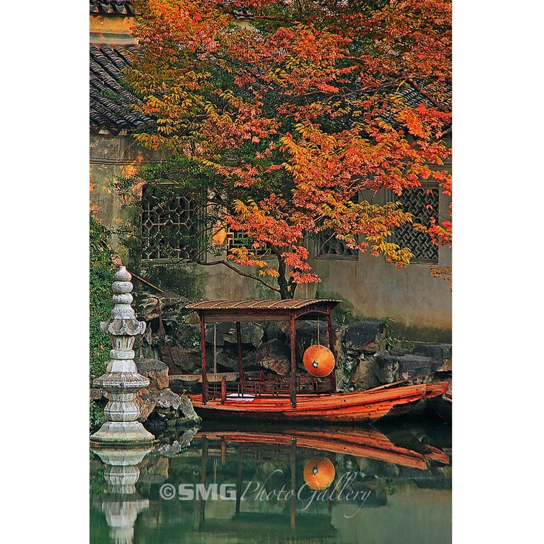 China Suzhou Water Town Canal Scene Boat Autumn Home image 0