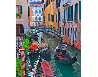 Venice Canal Photo, Italy Pictures, Gondolas, Grand Canal, Photograph, Canvas Print, Fine Art Photography, Wall Art, Home Decor, Metal