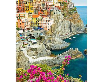 Cinque Terre, Manarola, Italy, Photo, Canvas Print, Photograph, Fishing Village, Travel Photos, Fine Art Photography