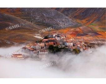 Castelluccio, Italy, Hilltop Village, Morning Fog, Home Decor, Wall Art, Travel Photos, Fine Art, Photography, Canvas, Metal, Matted Prints