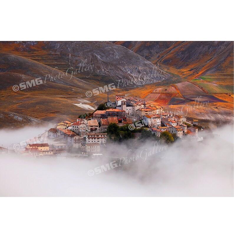Castelluccio Italy Hilltop Village Morning Fog Home Decor image 0