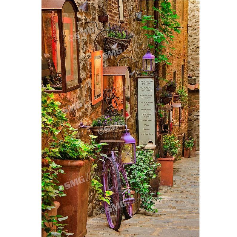 Tuscany Italy Cortona Street Scene Alleyway Home Decor image 0