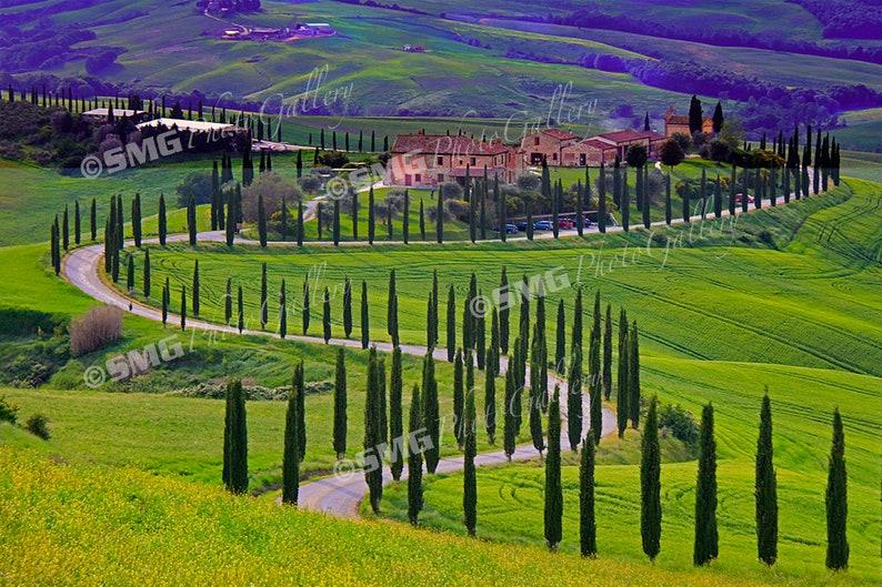 Tuscany Italy Asciano Sunset Hillside Villa Home Decor image 0