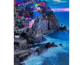 Manarola, Cinque Terre, Italy, Night Scene, Evening, Home Decor, Wall Art, Travel Photos, Fine Art, Photography, Canvas, Metal, Matted Print