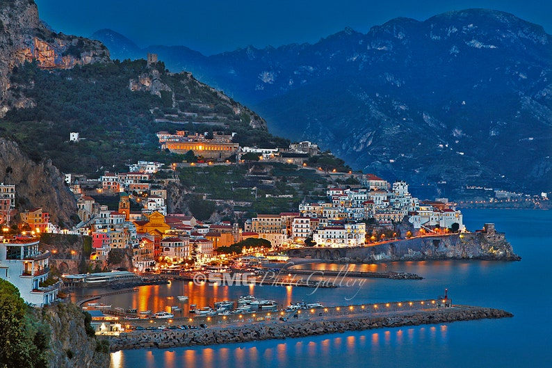 Italy Amalfi Coast European Harbor Nighttime Home Decor image 0