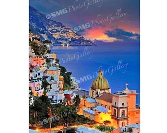 Positano Italy Photograph, Positano Italy Photo, Positano Italy Canvas Print, Dawn, Amalfi Coast, Travel Photos, Fine Art Photographs