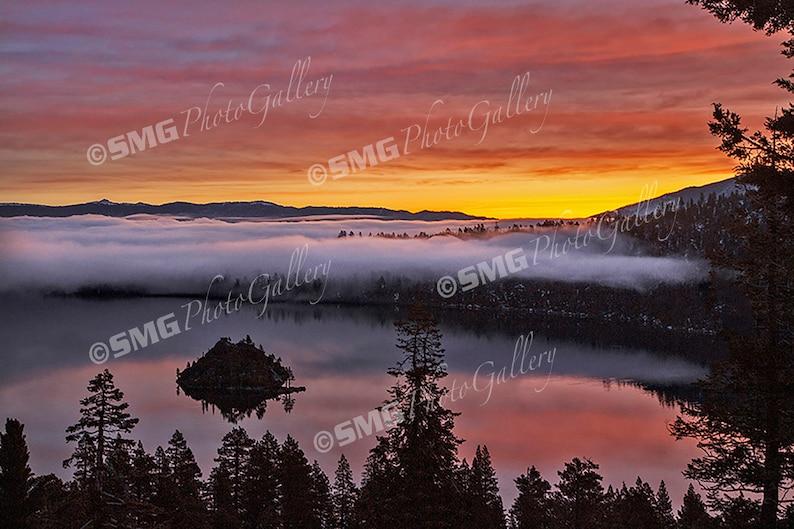 Lake Tahoe California Emerald Bay Sunrise Fog Home Decor image 0