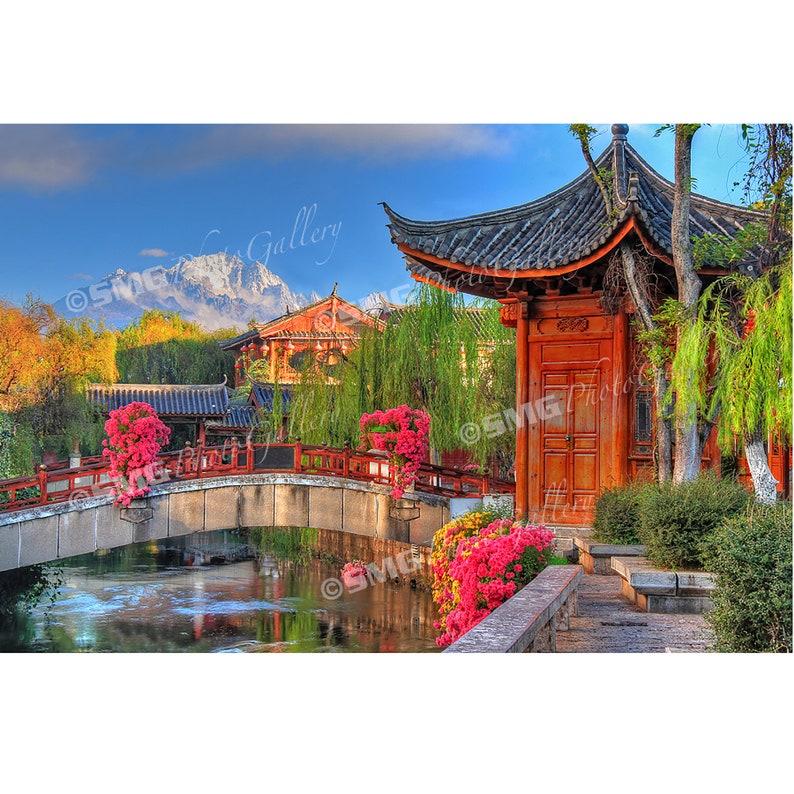 Lijiang China Pagoda Snow-capped Mountain Bridge Home image 0