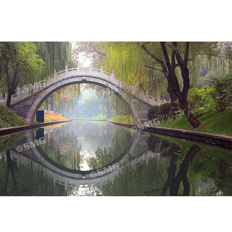Beijing China Bridge Reflection Green Home Decor Wall image 0