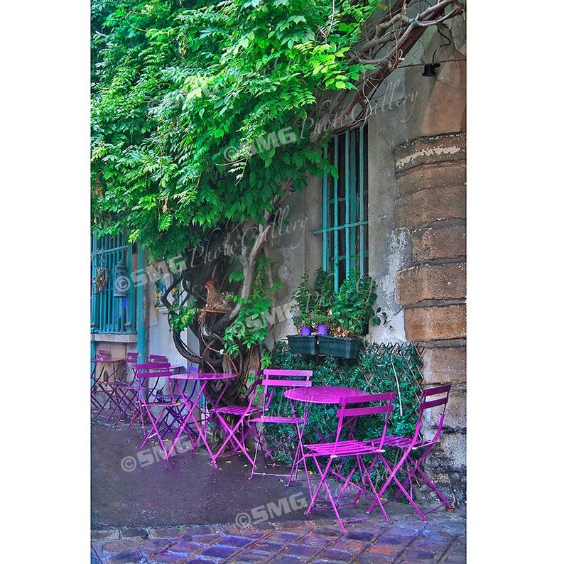 France Paris Sidewalk Cafe Street Scene Colorful Home image 0