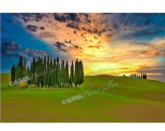 Tuscany Photos, Italy Pictures, Sunset, Italian Landscape Prints, Hillside, Cypress Trees, Wall Art, Travel Photos, Fine Art Photography
