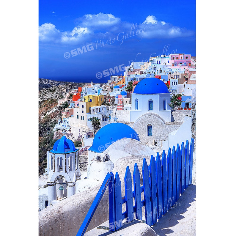 Santorini Oia Greece Blue and White Churches Home Decor image 0