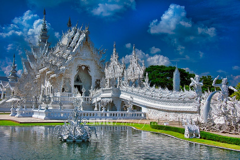 Thailand Asian Temple Buddhism Ancient White Home Decor image 0