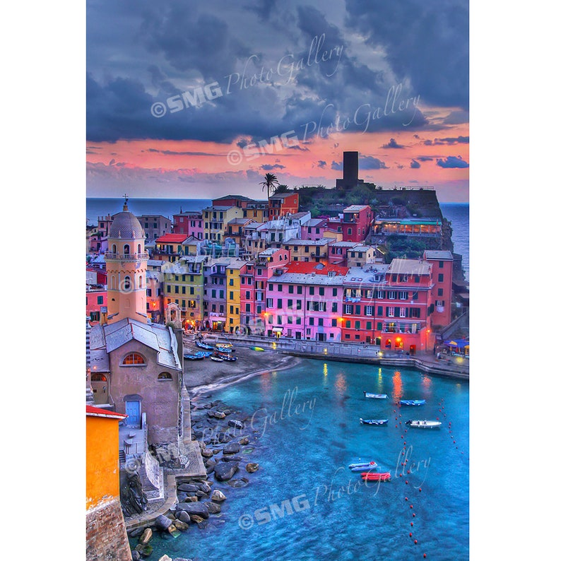 Vernazza Cinque Terre Italy Fishing Village Home Decor image 0
