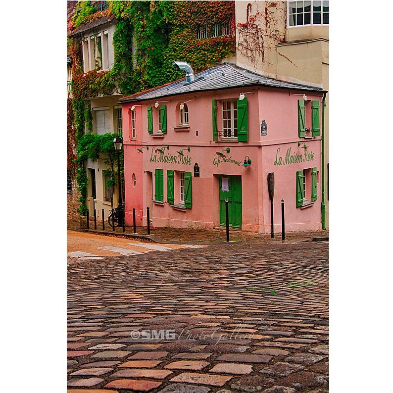 France Paris Montmartre Cafe Cobblestone Home Decor Wall image 0