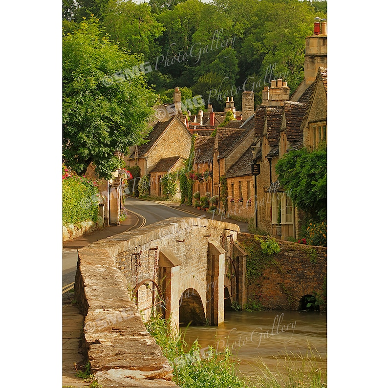 Cotswolds England Street Scene Quaint Village Home Decor image 0