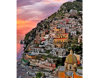 Positano Italy Photograph, Positano Italy Photo, Positano Italy Canvas Print, Sunset, Amalfi Coast, Travel Photos, Fine Art Photographs