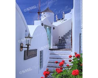 Oia, Santorini, Greece, Street Scene, Windmills, Home Decor, Wall Art, Travel Photos, Fine Art, Photography, Canvas, Metal, Matted Prints