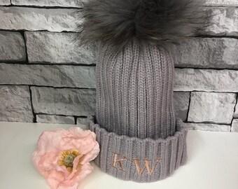 6041f4548e77d9 Personalised Pom Pom Hat, Pom Pom Hat, Bobble Hat, Knitted Hat