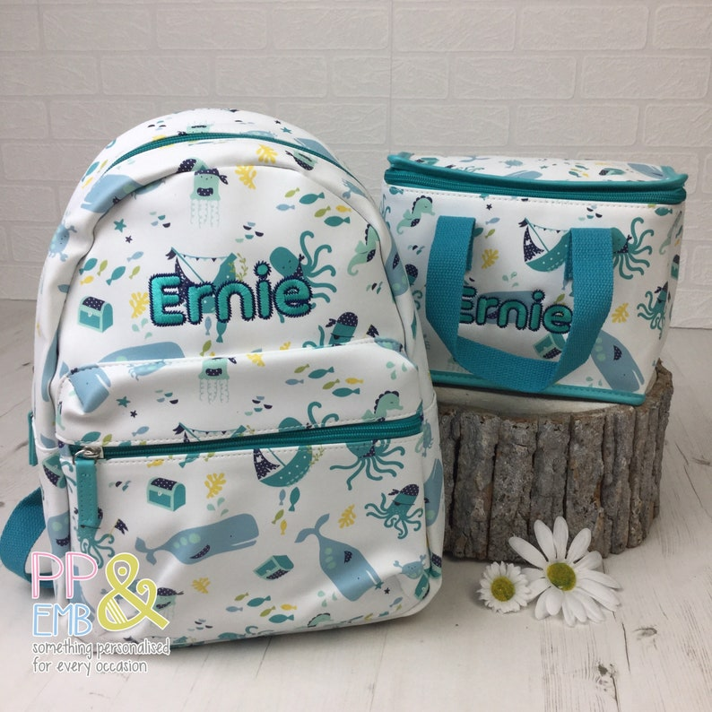 Personalised Sea Life backpack and lunch Bag Set