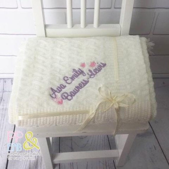 Personalised Baby Blanket choice of designs and blanket colours