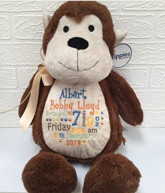 Personalised Baby Monkey Comforter by Mumbles
