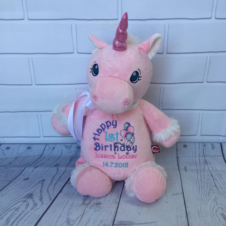 Baby 1st Birthday Personalised Unicorn teddy First Birthday Gift Bear
