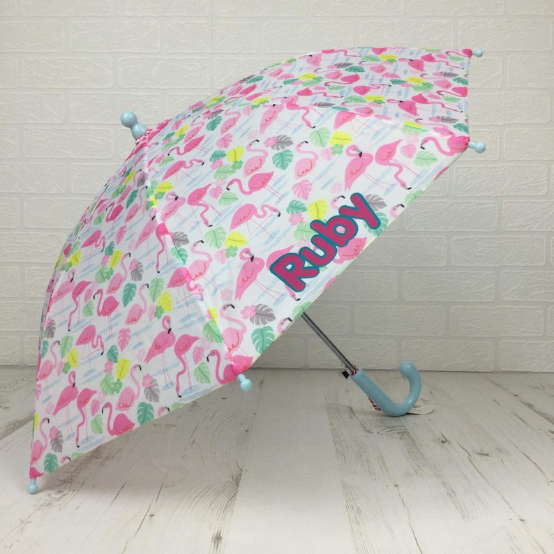 Flamingo Personalised Kids Umbrella Name in 2 colour print