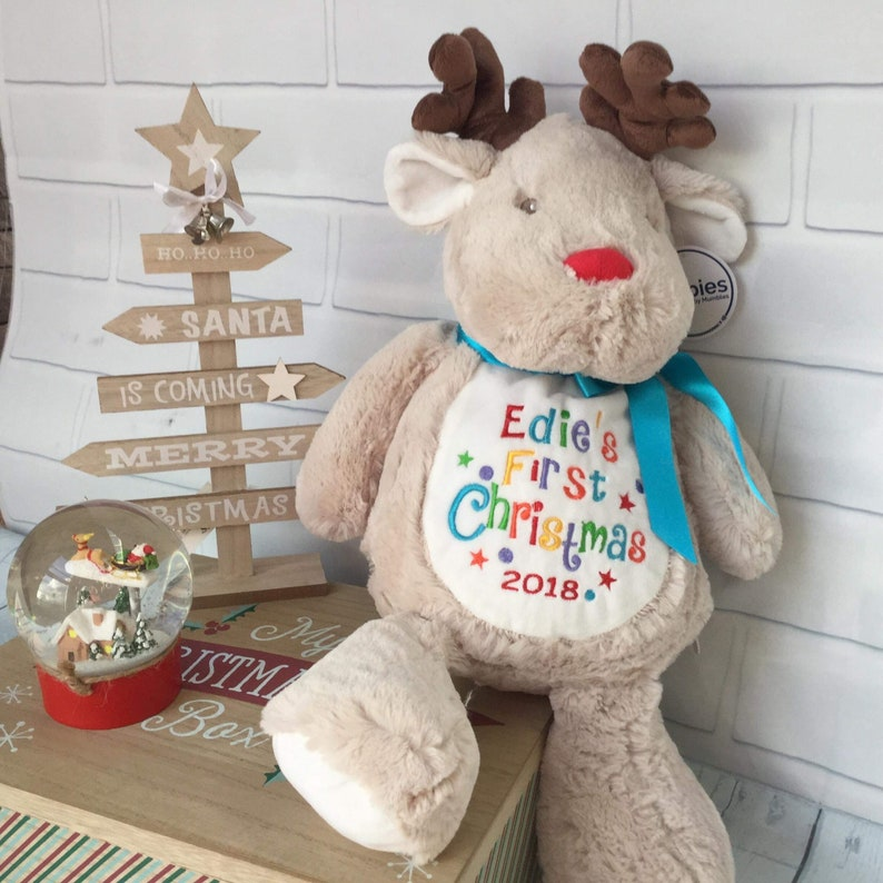 First Xmas Reindeer Personalised 1st Christmas Teddy Bear Gift Embroidered