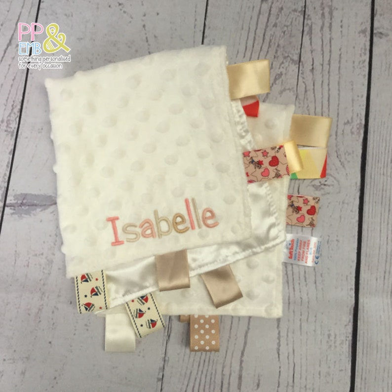 Personalised Baby Blanket Taggy Comfort Set Boys Girls Any Name Colour New Gift