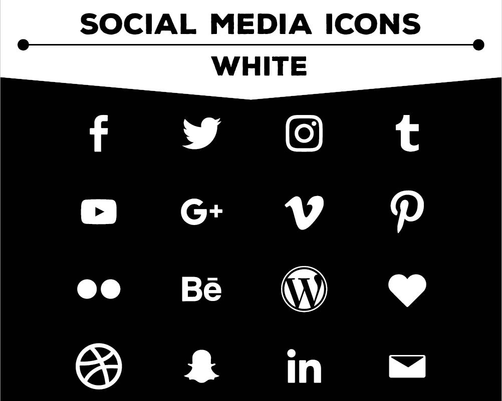 Social Media Icons - White Icon Pack PNG Files for Web, Blog, and Print