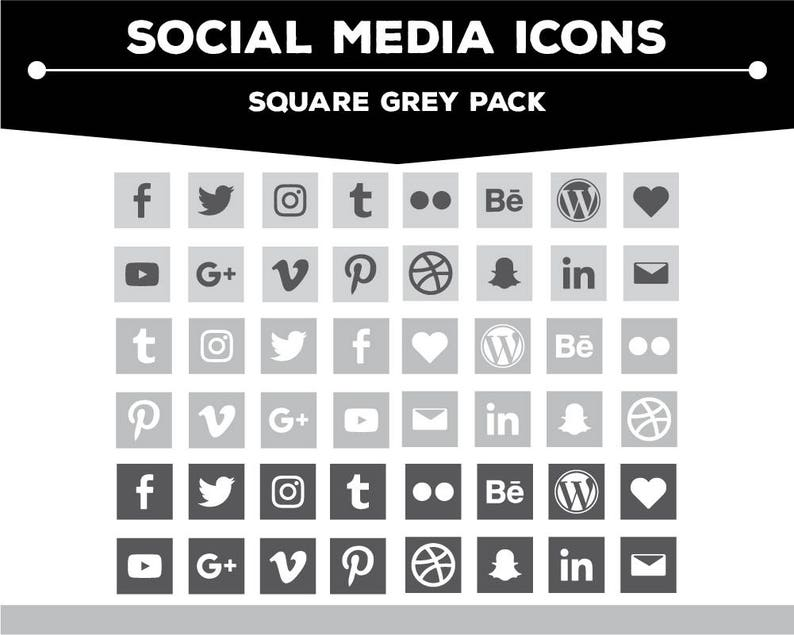 Social Media Icons - Square Grey/Charcoal/White Icon Pack PNG Files for  Web, Blog, and Print