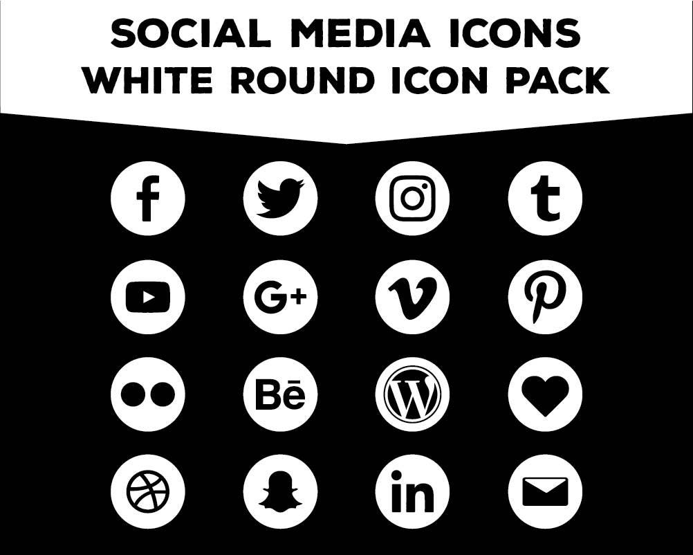Social Media Icons Round White PNG Files For Web Blog And