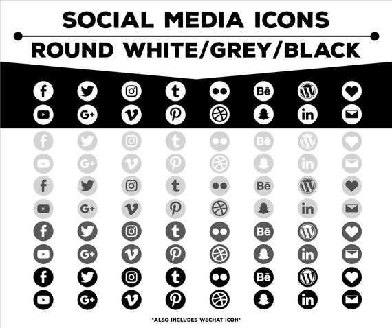 Social Media Icons - Round White/Gray/Black Icon Pack PNG Files for Web,  Blog, and Print