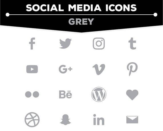 Social Media Icons Grey Icon Pack Png Files For Web Blog And Print