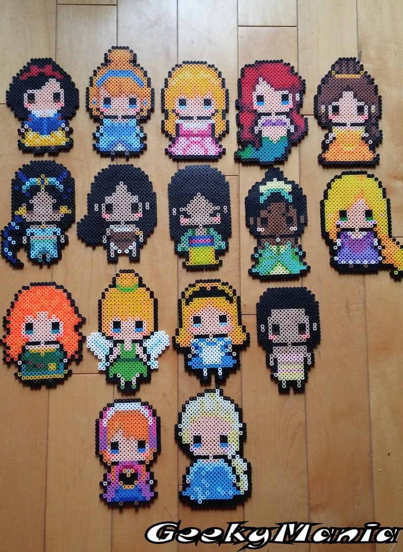Disney Princess Aurora Ariel Belle Hama Beads Pattern T