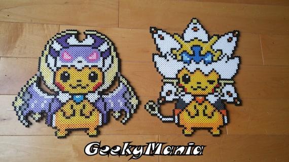 Pokemon Pikachu Déguisé En Légendaire Lunala Et Solgaleo Perler Beads