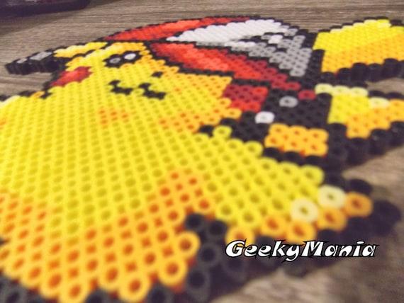 Pokemon - Pikachu wearing Ash's Hat Perler Beads