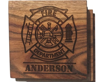 Firefighter Coasters Etsy