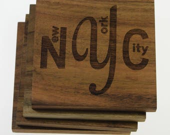 New York City NYC Coasters - Set of 4 Engraved Acacia Wood Coasters