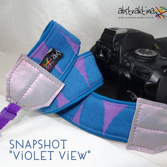 one-of-a-kind SNAPSHOT camera strap violet view by abstraktina