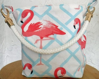 Flamingo handbag - pink flamingos pose on white and blue background on this purse. Fun, whimsical/tropical accessory style.
